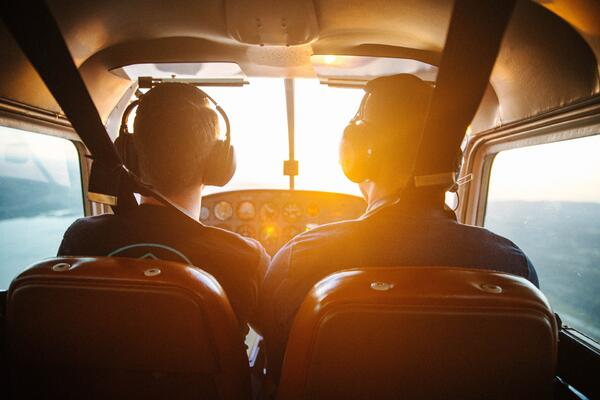 Student pilot flying with Chief Flight Instructor